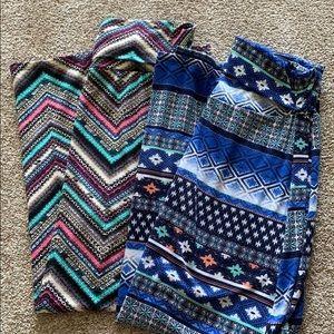 Pair of fold over waist maxi skirts